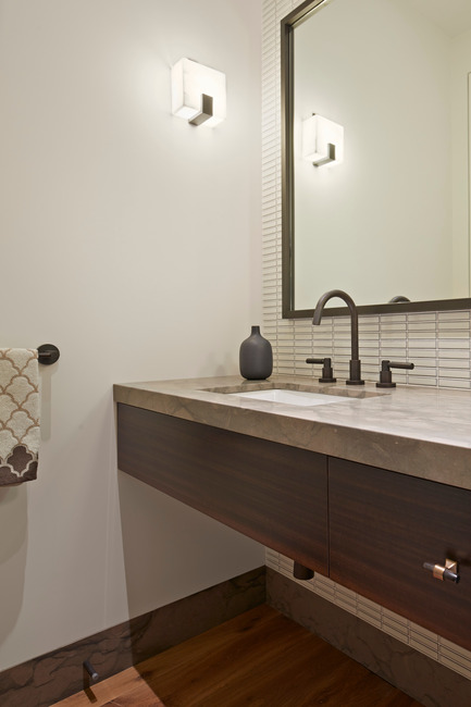 Press kit | 1733-02 - Press release | Noe Residence - Studio VARA - Residential Architecture - A wall-to-wall vanity is cantilevered in the powder room.<br> - Photo credit: Bruce Damonte
