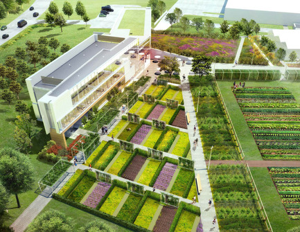 Press kit | 1866-01 - Press release | Durham College Centre for Food - Gow Hastings Architects - Institutional Architecture - Plan for the surrounding gardens and cultivated agricultural landscape. - Photo credit: Janet Rosenberg & Studio