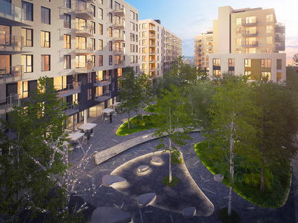 Press kit | 1867-01 - Press release | ARBORA prend racine dans Griffintown - LSR GesDev et Sotramont - Residential Architecture - Interior court - Photo credit: Lemay+CHA