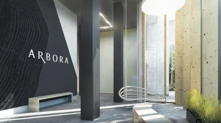 Dossier de presse | 1867-01 - Communiqué de presse | ARBORA prend racine dans Griffintown - LSR GesDev et Sotramont - Architecture résidentielle - Lobby 1 - Crédit photo : Hùma Design