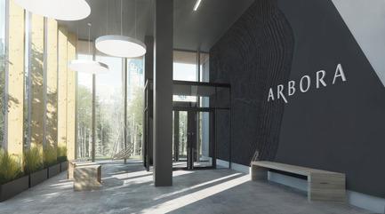 Dossier de presse | 1867-01 - Communiqué de presse | ARBORA prend racine dans Griffintown - LSR GesDev et Sotramont - Architecture résidentielle - Lobby 2 - Crédit photo : Hùma Design