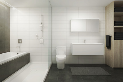 Dossier de presse | 1867-01 - Communiqué de presse | ARBORA prend racine dans Griffintown - LSR GesDev et Sotramont - Architecture résidentielle - Salle de bain - Crédit photo : Hùma Design
