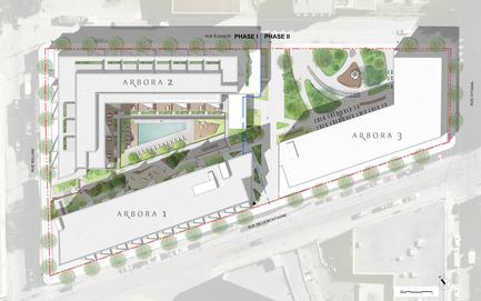 Dossier de presse | 1867-01 - Communiqué de presse | ARBORA prend racine dans Griffintown - LSR GesDev et Sotramont - Architecture résidentielle - Vue globale du projet Arbora - Crédit photo : Arbora