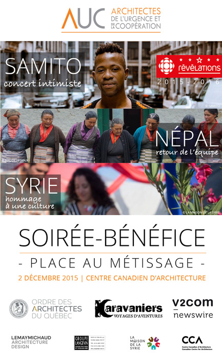 Press kit | 685-13 - Press release | Soirée-bénéfice 2015 - Architectes de l'urgence et de la coopération - Event + Exhibition