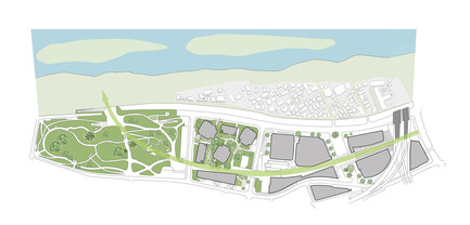 Dossier de presse | 1680-01 - Communiqué de presse | Conran and Partners completes 20 hectare urban regeneration project - Conran and Partners - Commercial Architecture - Diagram highlighting the green link connecting Futako-tamagawa-eki station to Futakotamagawa Park - Crédit photo : Conran and Partners