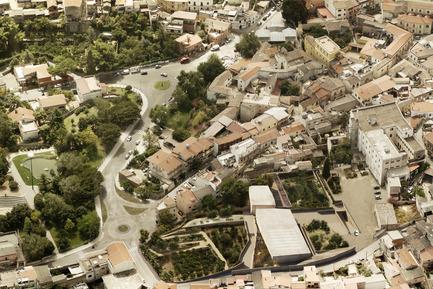Press kit | 1957-01 - Press release | New Civic Centre in Villacidro - 3TI PROGETTI - Competition - Bird view<br> - Photo credit: 3TI PROGETTI + 3TI_LAB