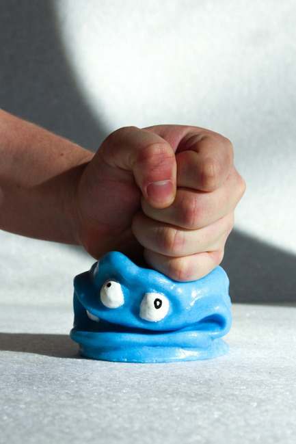 Press kit | 884-05 - Press release | HEC Project 2014 Edition - Faculty of Environmental Design of University of Montreal - Industrial Design - MANGE-COUP !<br><br> Little monster whose sole purpose is for the user to release their anger! Made of polyurethane foam.<br><br>Tristan Garbiès<br>Vincent Bouchard<br>Marc Paquin<br> - Photo credit: Laurent Trudel