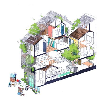 Dossier de presse | 1256-01 - Communiqué de presse | Saigon house - a21studĩo - Residential Architecture - Isometric drawing  - Crédit photo : a21studio