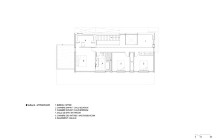 Press kit | 1527-02 - Press release | KL House - Bourgeois / Lechasseur architects - Residential Architecture - Second floor plan - Photo credit: Bourgeois / Lechasseur architects