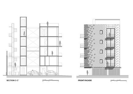 Dossier de presse | 1825-01 - Communiqué de presse | Just Be Apartments - Arqmov Workshop - Residential Architecture -  Section & Main Façade  - Crédit photo : arqmov workshop