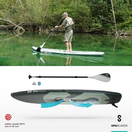 Press kit | 1857-01 - Press release | SipaBoards Bring Fresh Air To Paddleboarding - SipaBoards - Product - The SipaBoards Fisherman also features dedicated hooks for nets and anchors, and an extra-large surface area, with more than enough room for a cooler, tackle box, and whatever else you need to hook your catch. The Fisherman can also be outfitted with LEDs for night fishing. <br><br> - Photo credit: SipaBoards