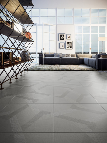 Press kit | 1177-03 - Press release | An incredible maze of ideas and creativity: Labyrinth by Giulio Iacchetti - Ceramiche Refin S.p.A. - Product - Labyrinth Mirror Silver 60x60 - Photo credit: Ceramiche Refin S.p.A.