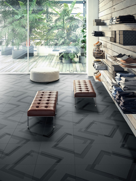 Press kit | 1177-03 - Press release | An incredible maze of ideas and creativity: Labyrinth by Giulio Iacchetti - Ceramiche Refin S.p.A. - Product - Labyrinth Angle Navy 60x60 - Photo credit: Ceramiche Refin S.p.A.