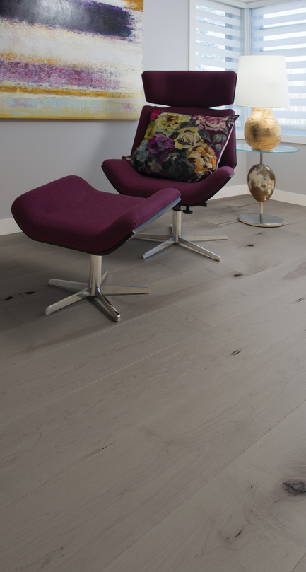 Press kit | 1639-03 - Press release | New Mirage Floors 2016— more magnificent than ever! - Mirage Hardwood Floors - Product - Maple Light Character, Grey Drizzle - Flair Collection - Photo credit:  Mirage Hardwood Floors