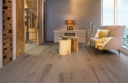 Press kit | 1639-03 - Press release | New Mirage Floors 2016— more magnificent than ever! - Mirage Hardwood Floors - Product - Maple Light Character, Sand Dune - Flair Collection - Photo credit:  Mirage Hardwood Floors