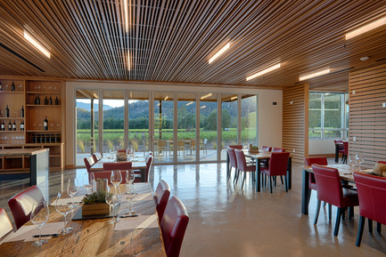 Press kit | 2039-01 - Press release | Titus Vineyards - MH Architects - Industrial Architecture -     The suspending ceiling of the Hospitality Room is comprised of long horizontal slats of varied widths and depths with a view of the surrounding vineyards through bi-fold Nana Walls.  Glass blade LED light fixtures hang between the slats in a staggered composition.  The slatted ceiling mitigates acoustical resonance and allows for flexible ventilation.  - Photo credit:  Technical Imagery Studios