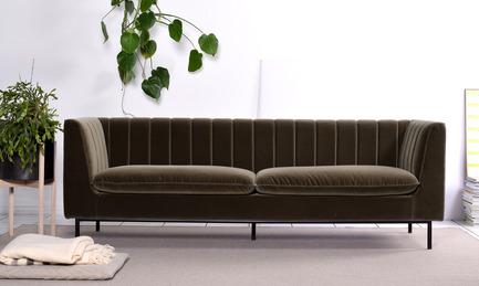 Press kit | 2038-01 - Press release | Affordable, renewable furniture designed in Montreal - Élément de base - Product -          Sofa STRIPES$1395.00 - Photo credit: EDB