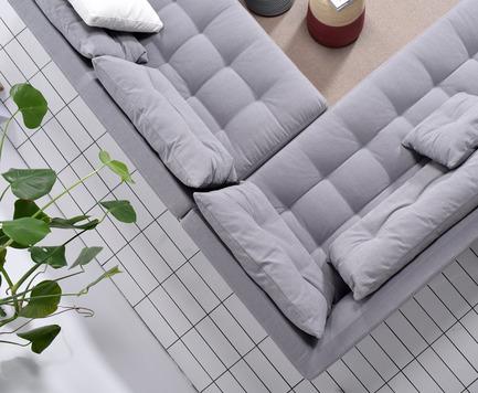 Press kit | 2038-01 - Press release | Affordable, renewable furniture designed in Montreal - Élément de base - Product -  Pique Grey top view$2275.00 - Photo credit: EDB