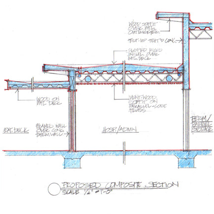 Press kit | 2039-01 - Press release | Titus Vineyards - MH Architects - Industrial Architecture - The building section of the Hospitality/Administration Building describes varied-height layered horizontal roof planes over Hospitality and Production spaces.  Construction assembly components include cedar soffits, concrete board-form tilt-up walls, gunmetal blue panels above windows, and anodized aluminum window frames.     - Photo credit:  MH Architects