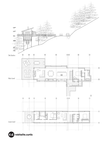 Press kit | 2054-01 - Press release | Laurentian Ski Chalet - RobitailleCurtis - Residential Architecture - Section and Floor Plans - Photo credit: RobitailleCurtis