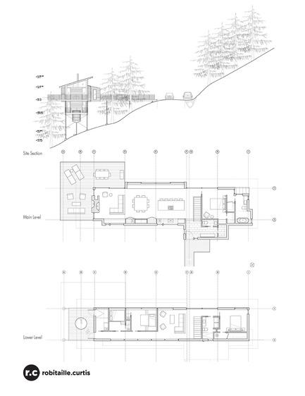 Dossier de presse | 2054-01 - Communiqué de presse | Chalet de ski laurentien - RobitailleCurtis - Architecture résidentielle - Section and Floor Plans - Crédit photo : Marc Cramer