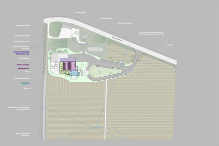 Press kit | 2039-01 - Press release | Titus Vineyards - MH Architects - Industrial Architecture -      The site plan demonstrates that the building location was determined by a variety of local constraints including the Napa River flood boundary line to the West, Silverado Trail to the East, historic structures on the property, and traffic considerations associated with the nearby blind curve. The building was raised on an earthen berm to mitigate flood risk from the nearby Napa River. <br>     - Photo credit:  MH Architects