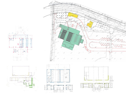 Press kit | 2039-01 - Press release | Titus Vineyards - MH Architects - Industrial Architecture - The early hand-sketches describe the evolution of the building plan with relation to the site plan. The building was raised on an earthen berm to mitigate flood risk from the nearby Napa River.    - Photo credit:  MH Architects