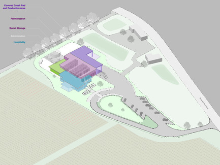 Press kit | 2039-01 - Press release | Titus Vineyards - MH Architects - Industrial Architecture - The 3D-view of the Titus Winery project site depicts all the major project components including the Covered Crush Pad, Production Area, Fermentation, Barrel Storage Room, Administration, and Hospitality Room.      - Photo credit:  MH Architects