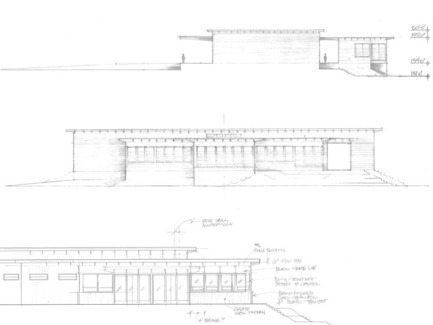 Press kit | 2039-01 - Press release | Titus Vineyards - MH Architects - Industrial Architecture -   Early exterior elevation hand-sketches describing a balanced composition of varied-height, layered horizontal roof planes.  The building was raised on an earthen berm to mitigate flood risk from the nearby Napa River. Exterior materials include cedar soffits, concrete board-form tilt-up walls, gunmetal blue panels above windows, and anodized aluminum window frames.    - Photo credit: MH Architects
