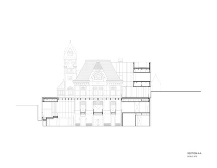 Press kit | 1070-02 - Press release | Old Post Office Idea Exchange - RDH Architects - Institutional Architecture - Longitudinal Section Drawing - Photo credit: RDHA