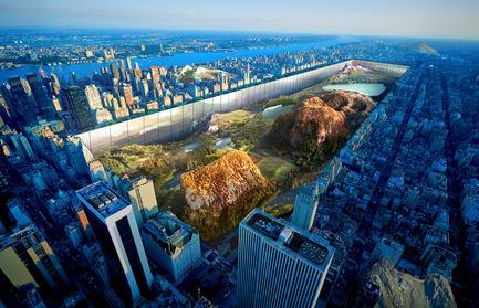 Press kit | 2069-01 - Press release | Winner of 2016 eVolo Skyscraper Competition Reimagines the Future of New York City's Skyline - Jianshi Wu, Yitan Sun - Urban Design -  Aerial Rendering  - Photo credit:   Jianshi Wu, Yitan Sun