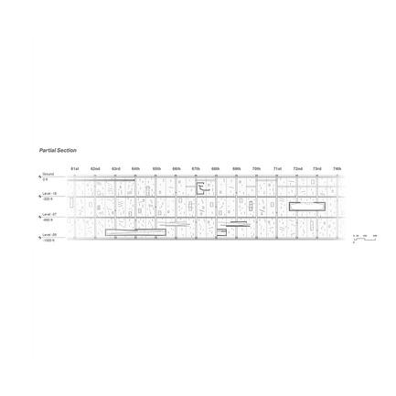 Press kit | 2069-01 - Press release | Winner of 2016 eVolo Skyscraper Competition Reimagines the Future of New York City's Skyline - Jianshi Wu, Yitan Sun - Urban Design - Partial Section - Photo credit:  Jianshi Wu, Yitan Sun