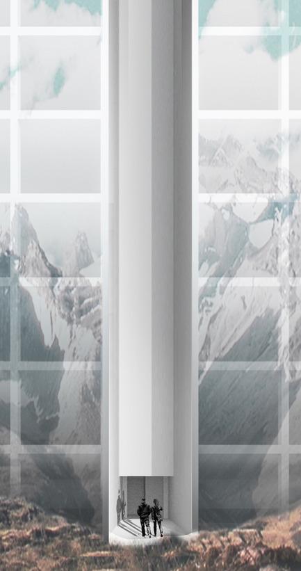 Press kit | 2069-01 - Press release | Winner of 2016 eVolo Skyscraper Competition Reimagines the Future of New York City's Skyline - Jianshi Wu, Yitan Sun - Urban Design - Entrance Collage - Photo credit:  Jianshi Wu, Yitan Sun