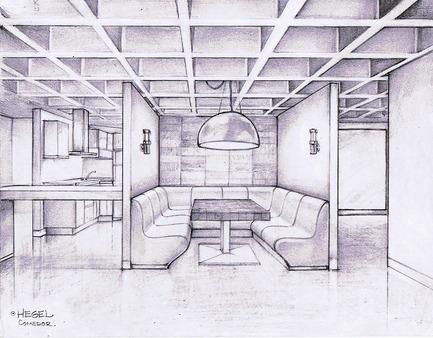 Press kit | 1825-03 - Press release | Hegel Apartment - Arqmov Workshop - Residential Interior Design - Kitchen & Dining room sketch - Photo credit: ARQMOV WORKSHOP