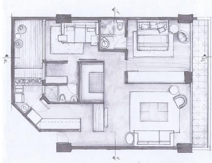 Dossier de presse | 1825-03 - Communiqué de presse | Hegel Apartment - Arqmov Workshop - Design d'intérieur résidentiel - General Plan - Crédit photo : ARQMOV WORKSHOP