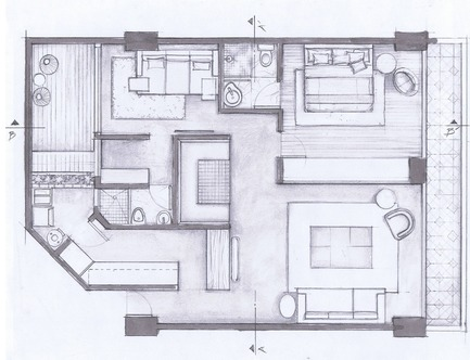 Press kit | 1825-03 - Press release | Hegel Apartment - Arqmov Workshop - Residential Interior Design - General Plan - Photo credit: ARQMOV WORKSHOP