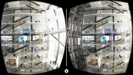 Press kit | 2119-02 - Press release | NBBJ and Visual Vocal to Develop Virtual Reality-Based Productivity Platform - NBBJ - Product - 888 Tower-Across - The user interface in which project stakeholders can review and select preferred design iterations. - Photo credit: NBBJ/Urban Visions.