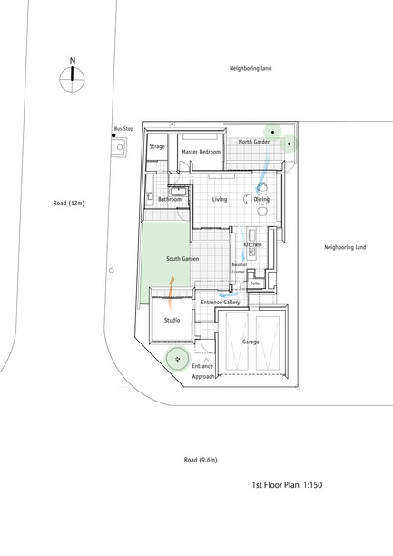 Press kit | 875-02 - Press release | The House for Contemporary Art / Award-winning project - Ryumei Fujiki + Yukiko Sato / F.A.D.S - Residential Architecture - 1st Floor Plan 1:150 - Photo credit: F.A.D.S