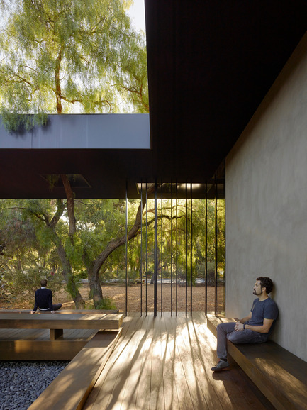 Press kit | 2112-02 - Press release | Windhover Contemplative Center selected as Architizer A+ Finalist - Aidlin Darling Design - Institutional Architecture -         The courtyard provides visitors the ability to experience the adjacent oak grove within the protection of the three-sided courtyard. - Photo credit: Matthew Millman