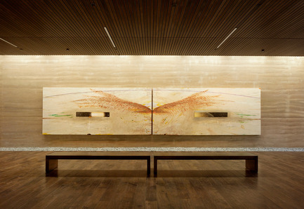 "Press kit | 2112-02 - Press release | Windhover Contemplative Center selected as Architizer A+ Finalist - Aidlin Darling Design - Institutional Architecture -         <br> Nathan Oliveira's ""The Windhover I A and I B"" diptych. The mix design and texture of the rammed earth were carefully calibrated to complement the paintings.&nbsp; - Photo credit: Matthew Millman"