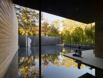 Press kit | 2112-02 - Press release | Windhover Contemplative Center selected as Architizer A+ Finalist - Aidlin Darling Design - Institutional Architecture -         <br> Water, in conjunction with landscape, is used throughout as an aid for contemplation; fountains within the main gallery and the courtyard provide ambient sound while a still reflecting pool to the south reflects the surrounding trees. - Photo credit: Matthew Millman