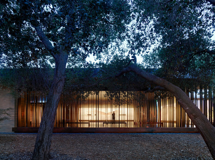 Press kit | 2112-02 - Press release | Windhover Contemplative Center selected as Architizer A+ Finalist - Aidlin Darling Design - Institutional Architecture -         View from the Oak Grove at dusk. The paintings are lit through the evening hours allowing visitors to access them visually at any time. - Photo credit: Matthew Millman