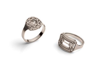 "Press kit | 2117-01 - Press release | Rings ""cut"" - KISSdesign, Sally Kiss - Product - Rings ""cut""<br>material: Steinless steal<br> - Photo credit: knauf-fotodesign"