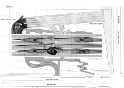 Dossier de presse | 756-12 - Communiqué de presse | The CCA presents Archaeology of the Digital: Complexity and Convention - Canadian Centre for Architecture (CCA) - Event + Exhibition - Reiser + Umemoto, Kansai National Diet Library (competition): Site plan, 1997. RUR Architecture records, Canadian Centre for Architecture, Montreal. <br> - Crédit photo : Gift of RUR Architecture. © RUR Architecture<br>