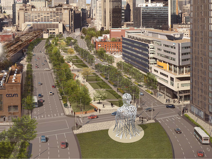 Press kit | 1478-01 - Press release | International artist Jaume Plensa creates a monumental artwork for Montréal - The City of Montréal's Public Art Bureau - Art -   North view - Source par Jaume Plensa - Montréal, Canada, Inauguration in September 2017    - Photo credit:  Courtesy of Jaume Plensa and Galerie Lelong (The images may not be altered, cropped or manipulated under any circumstance.)