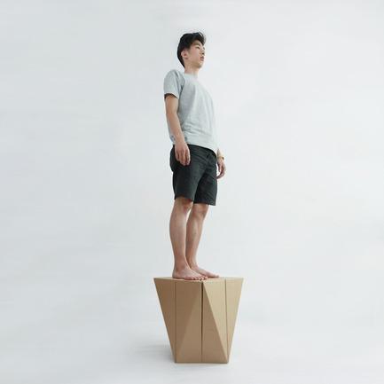 Press kit | 2128-01 - Press release | Fractal Surface Structure made with Cardboard Sheet: Spiral Stool by MisoSoupDesign Awarded Platinum A'Design Award - MisoSoupDesign - Product - Spiral Stool can support up to 100 kg - Photo credit: Daisuke Nagatomo