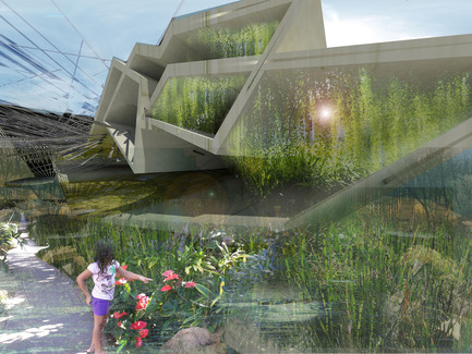 Press kit | 2121-02 - Press release | Piezoelectric Trolleybus Gardens - Margot Krasojević Architects - Industrial Architecture - electricity is environemntally friendly by comparison, used to stimulate plant growth similar to an artificial photosynthesis - Photo credit: Margot Krasojević