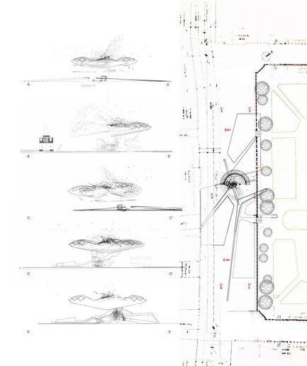Dossier de presse | 2121-02 - Communiqué de presse | Piezoelectric Trolleybus Gardens - Margot Krasojević Architects - Architecture industrielle - series of section and plan - Crédit photo : Margot Krasojević