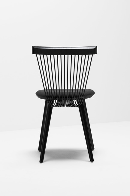Press kit | 1539-03 - Press release | WW Chair - H Furniture Ltd. - Industrial Design -  WW Chair <br>		 	 	 		 			 				 					 						Wood: oak, stained black. Upholstery: black fabric&nbsp; 					<br> 				<br> 			<br> 		<br>  - Photo credit: Peter Guenzel