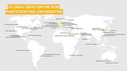Press kit | 1834-07 - Press release | Global Grad Show Announces 2016 Exhibition - Dubai Design Week - Event + Exhibition - Global Grad Show 2016, Participating Universities Map - Photo credit: Dubai Design Week